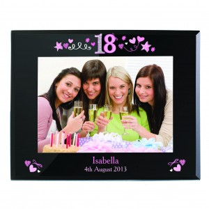 18th Birthday Black Glass 5x7 Frame