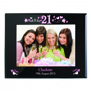 21st Birthday Black Glass 5x7 Photo Frame