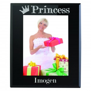 Bling Princess Black Glass 5x7 Photo Frame