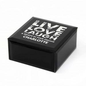 Black Live Love Laugh Glass Trinket