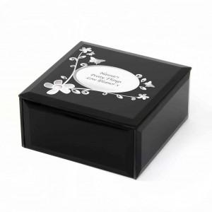 Black Flowers & Butterfly Glass Trinket