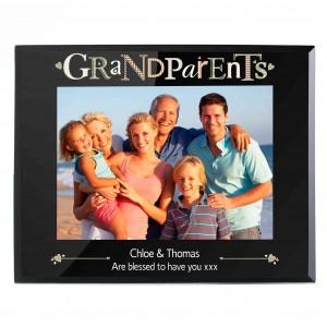 Grandparents Black Glass 5x7 Photo Frame