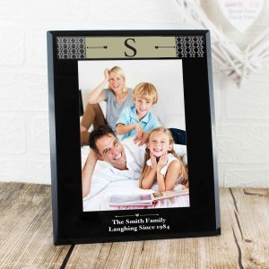 Monogram Black Glass 5x7 Photo Frame