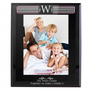 Houndstooth Black Glass 5x7 Photo Frame