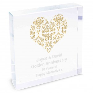 Gold Damask Heart Large Crystal Token