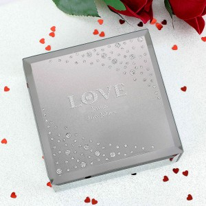 LOVE Diamante Glass Trinket
