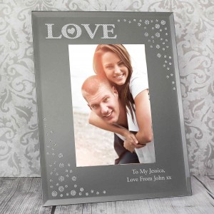 LOVE Diamante 6x4 Glass Photo Frame