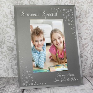 Any Message Diamante 6x4 Portrait Glass Photo Frame