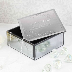 Diamante Name Glass Trinket