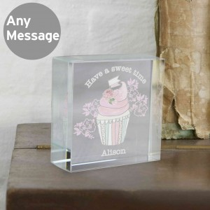 Vintage Pastel Cupcake Medium Crystal Token