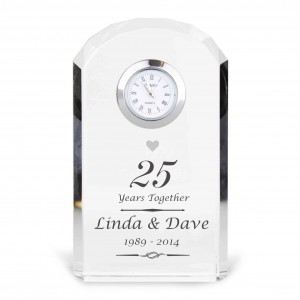 Silver Anniversary Crystal Clock