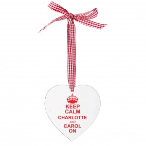 Keep Calm Design Wooden Heart Shaped Decoration