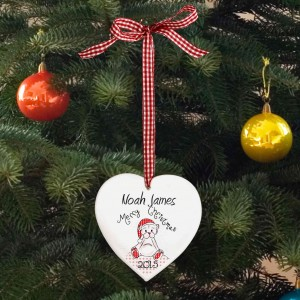 Christmas Teddy Design Wooden Heart Shaped Decoration