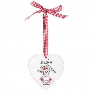 1st Christmas Teddy Design Wooden Heart Shaped Decoration