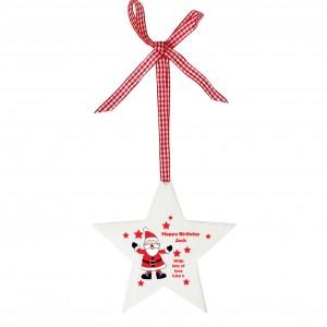 Christmas Santa Design Wooden Star Shaped Decoration