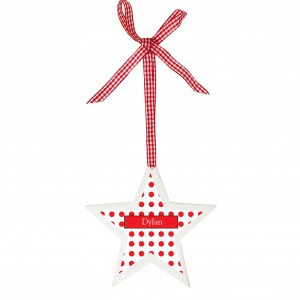 Polka Dot Design Wooden Star Shaped Decoration