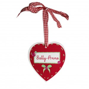 Button Name Heart Shaped Wooden Decoration