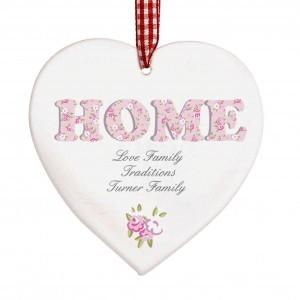 Floral Design  Home Wooden Heart Shaped Decoration