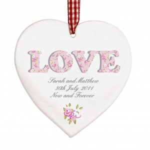 Floral Design Love Wooden Heart Shaped Decoration