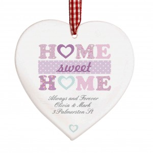 Floral Design Home Sweet Home Wooden Heart Decoration