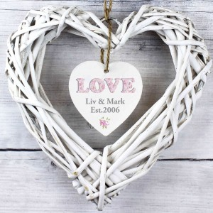 Floral Design Love Wicker Heart Decoration
