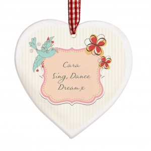 Songbird Wooden Heart Decoration