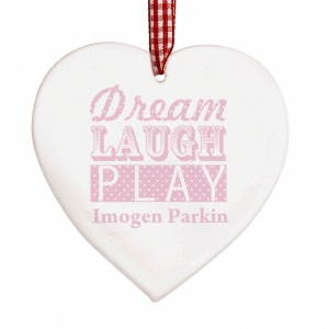Dream Pink Wooden Heart Decoration
