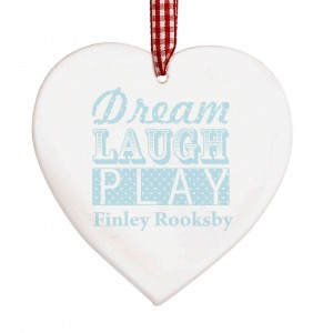 Dream Blue Wooden Heart Decoration