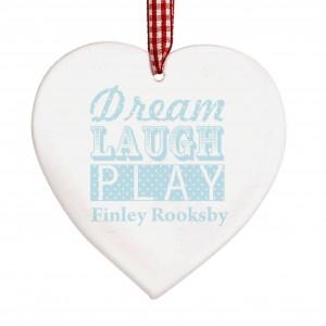 Dream Blue Wooden Heart Decoration