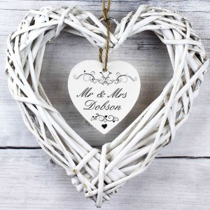 Ornate Swirl Wicker Heart Decoration