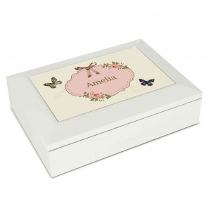 Delicate Butterfly White Jewellery Box