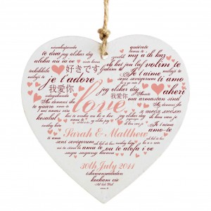 I Love You Wooden Heart Decoration