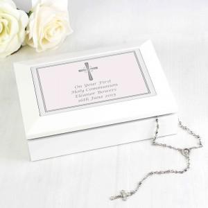 Silver Cross White Wooden Keepsake Box