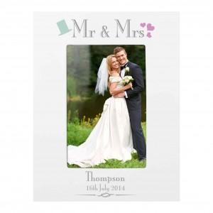 Decorative Wedding Mr & Mrs White 6x4 Photo Frame
