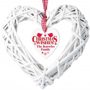 Christmas Wishes Wicker Heart Decoration