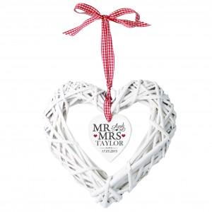 Mr & Mrs Wicker Heart Decoration