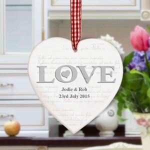 LOVE Wooden Heart Decoration