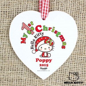 Hello Kitty My 1st Christmas Wooden Heart Decoration