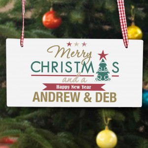 Merry Christmas And A Happy New Year Wooden Sign