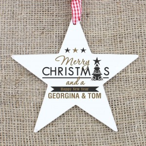 Merry Christmas And A Happy New Year Wooden Star Decoration
