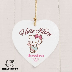 Hello Kitty Fairy Wooden Heart Decoration