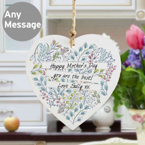 Botanical Wooden Heart Decoration