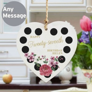Floral Dot Wooden Heart Decoration