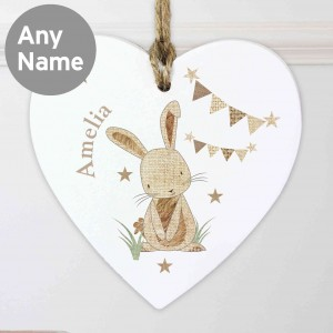 Hessian Rabbit Wooden Heart Decoration