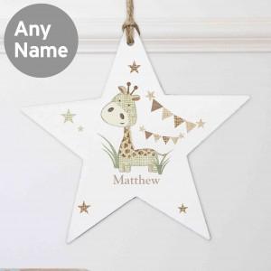 Hessian Giraffe Wooden Star Decoration