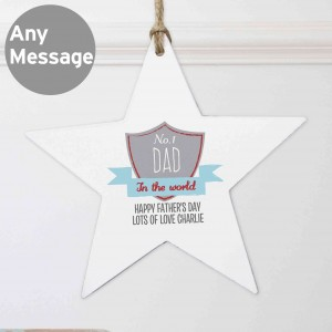 No.1 Shield Wooden Star Decoration