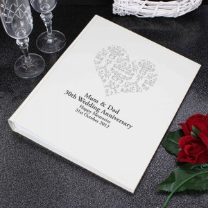 Silver Damask Heart Traditional Album