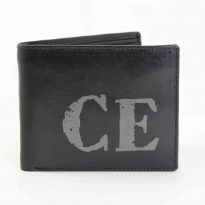 Black Rustic Initials Wallet
