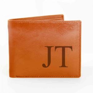 Tan Big Initials Wallet