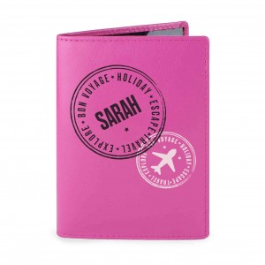 Stamped Pink Passport Holder